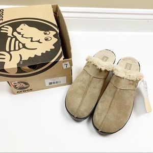 CROCS Cobbler suede faux fur-lined clogs - NEW!